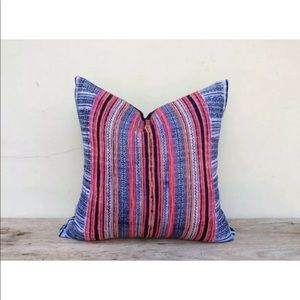 Vintage Ethnic Thailand Hmong Hand Print Pillow